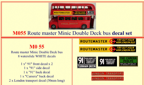 M055 Tri-ang ( Triang ) Minic Routemaster Double Decker bus decal set